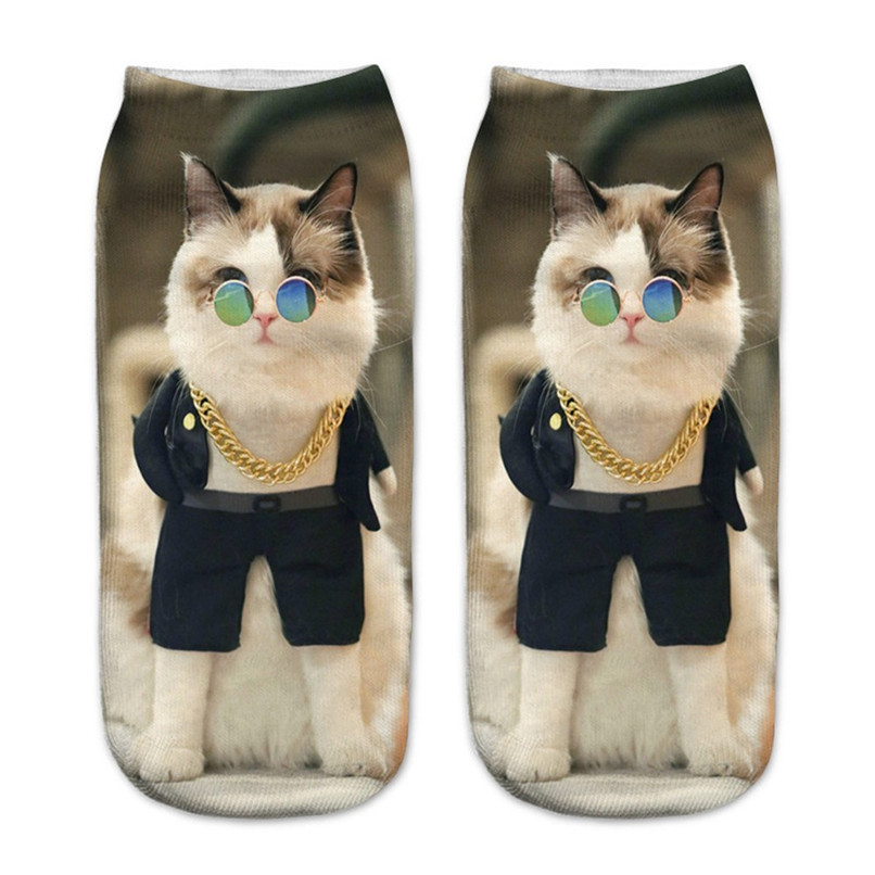 Cute cat print 3D socks happy funny socks men Women comfortable Medium Sports Casual Work Business Socks #2S29 (8)