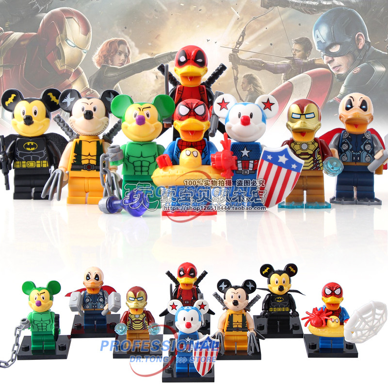 DR.TONG 80pcs SY670 Super Heroes Figure Deadpool Duck Spider-Man Iron Man Thor Duck Building Blocks Model Bricks Toys Gifts
