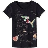 2018 Summer T Shirt Women Flowers Letters Beaded Diamond T Shirt Women Tops Tee Shirt Femme