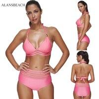 ALANSBEACH Solid Pink Swimsuit Women Swimwear Sexy Swimwear Bathing Suit Girl Bodysuit Bikini Sets AB00317
