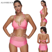 ALANSBEACH Solid Pink Swimsuit Women Swimwear Sexy Swimwear Bathing Suit Girl Bodysuit Bikini Sets AB00317