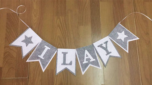 Image 4 - New Custom made Grey Gray White Star Name Bunting Banner Boy Baby shower Birthday Party Decoration Nursery Garland Photo Props