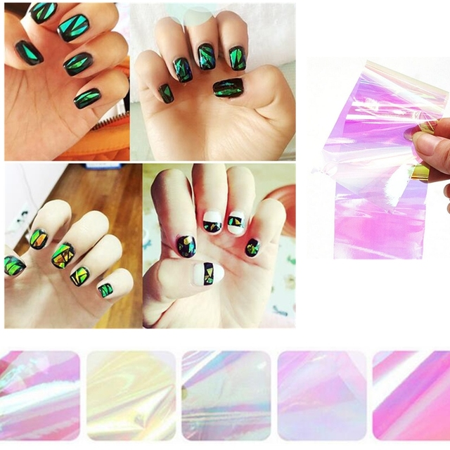 5pcs Holographic Starry Sky Glitter Foils Mirror Nail Art Transfer Sticker Tips Polish Gel Uv Diy