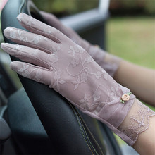Woman Gloves Fashion Embroidery Summer Sunscreen Gloves Female Thin Elastic Ice Silk Driving Anti-UV Lace Short Mittens FS14 цена
