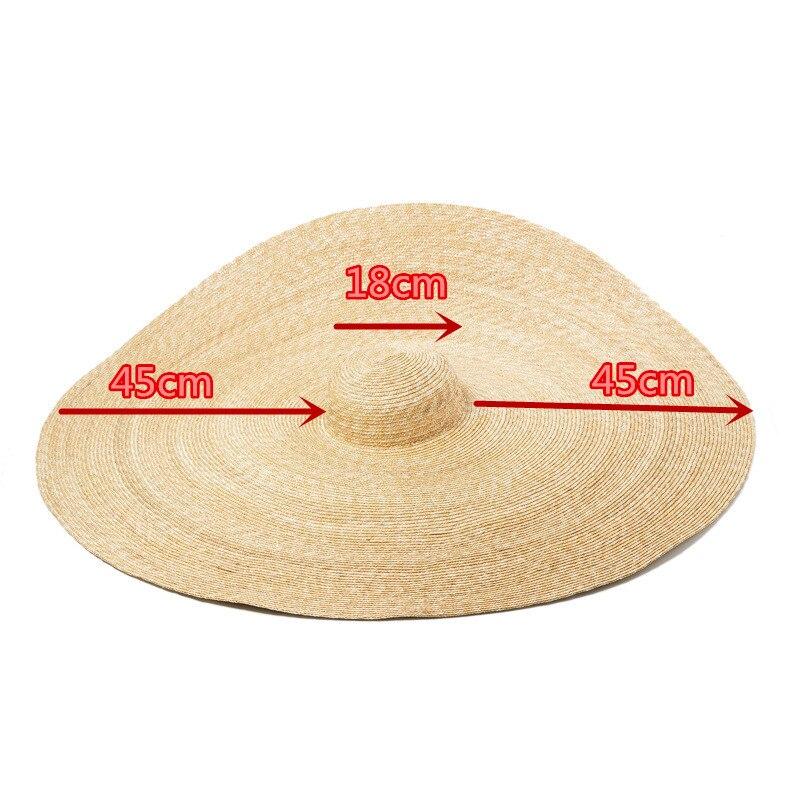 Pré-vente, s'il vous plaît prolonger le délai de livraison à la main 45 cm bord de mariage chapeau de soleil femmes loisirs chapeau prendre photo - 2