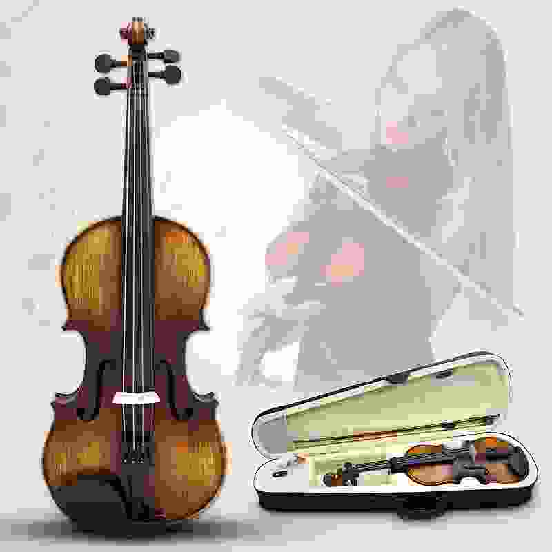 Full Size 4/4 Acoustic Violin Stringed Instruments Fiddle with Violin Case Bow Rosin Parts Accessories Set Kit For Musical Lover free shipping high quality brazil wood 4 4 violin bow siberia white horsetail copper parts best balance parts accessories