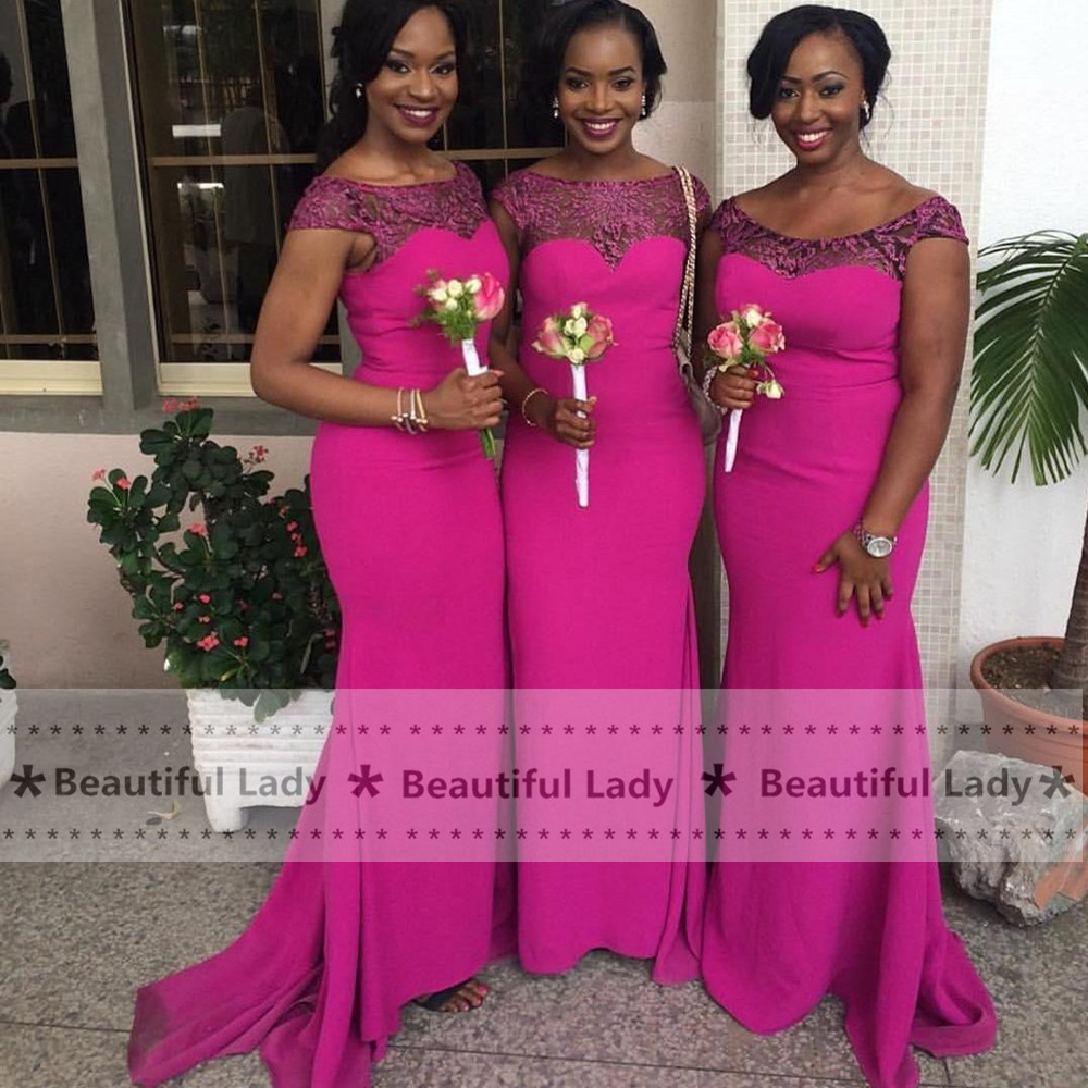 High quality wholesale fuchsia bridesmaid from china fuchsia 2017 new fuchsia african bridesmaid dress lace chiffon floor length mermaid bridesmaid dresses plus size wedding ombrellifo Images
