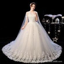 חלוק דה Mariee מדהים חתונת שמלות כדור שמלת O צוואר תחרה עם מעיל אפליקציות Mariage הכלה שמלות Casamento 2020
