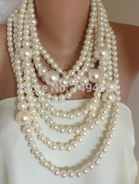 Wholesale Pearl Jewelry Bold Chunky Multi Strand Statement Pearl