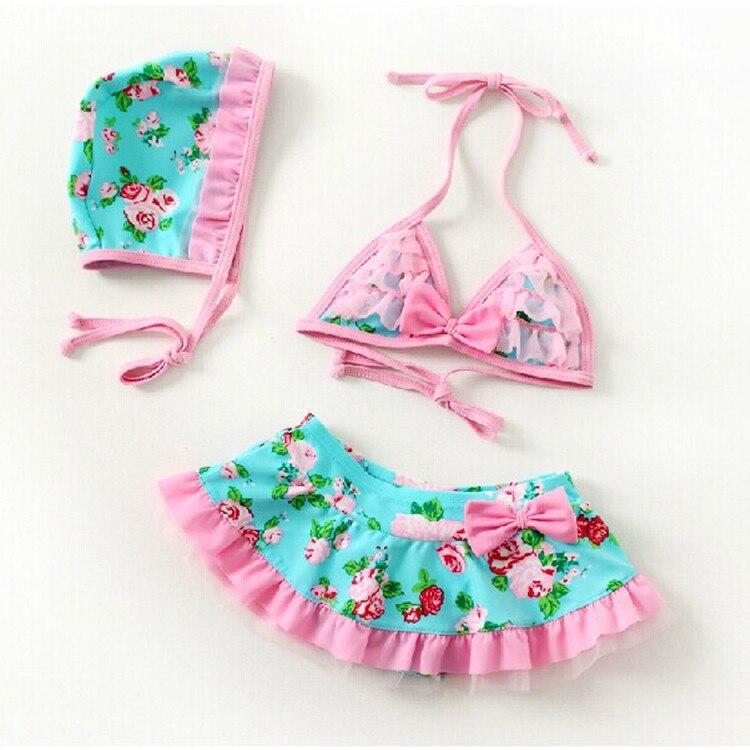 2018 New Summer children's fresh floral bikini girl beachwear girls bikini split swimsuit infant girls Spa swimsuit with Cap haisile 2015 new swimsuit korean spa small chest steel holder bikini three sets of 1525