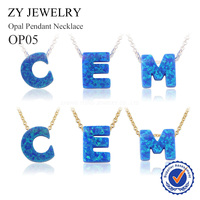 1pc Lot Gold Color Initial Letters Synthetic Opal Pendant Necklace High Quality Silver Plated Brass Chain