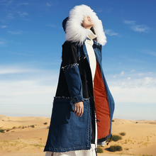 winter wool collar coat of jeans long down jacket female MZ21012