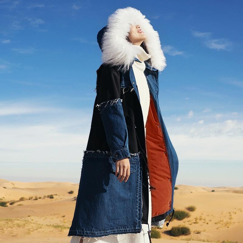 winter wool collar coat of jeans long down font b jacket b font female MZ21012