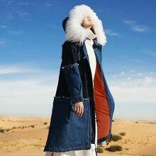 winter wool collar coat of jeans long down jacket female MZ21012