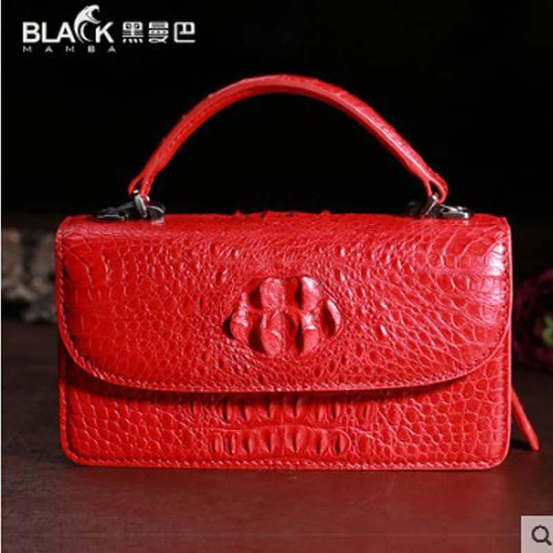 Crocodile small square bag 2019 new single-shoulder cross w1631-1 Thai small bag genuine crocodile handbag for ladies