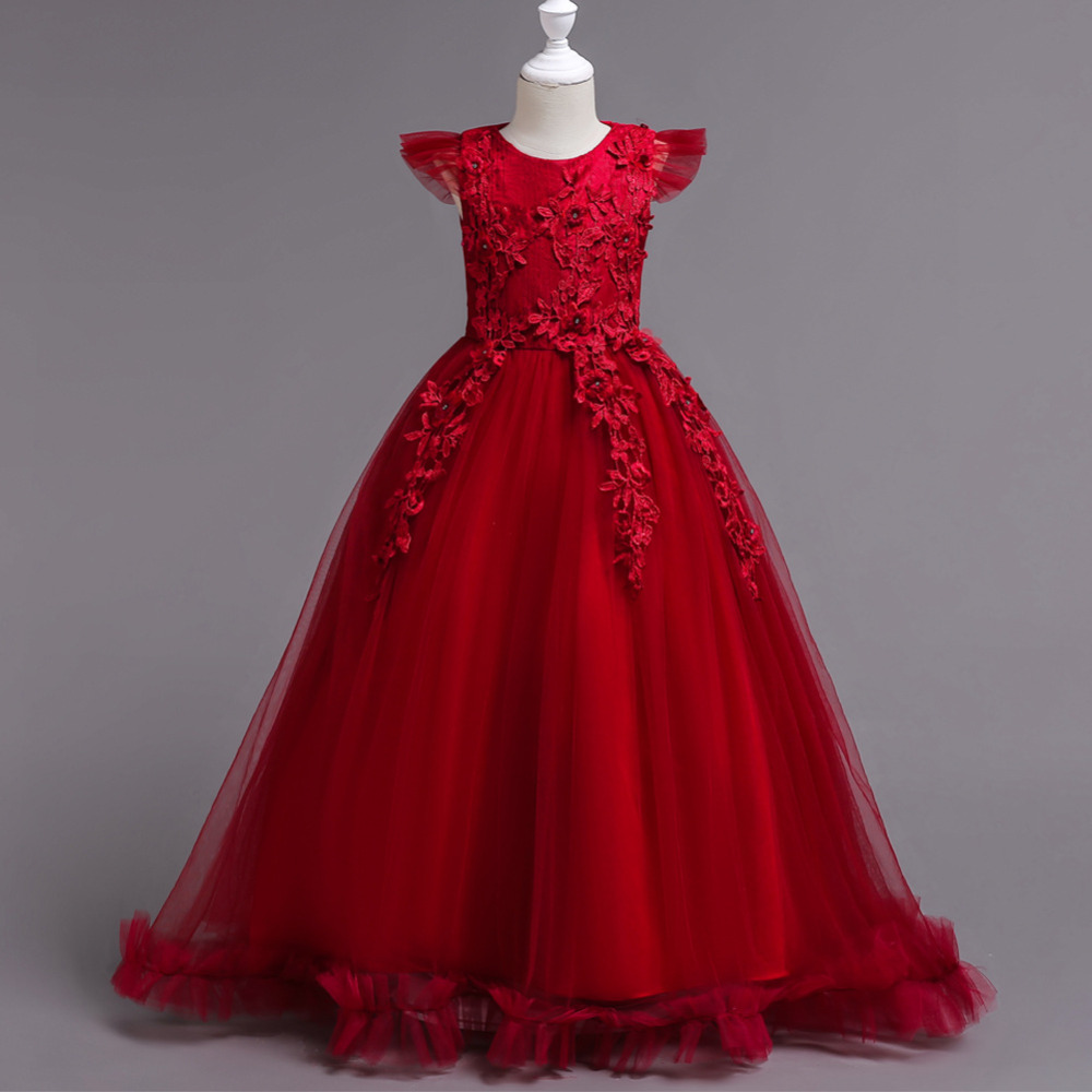 2018 Romantic Lace Kids Girls Wedding Long Full Dress elegant Princess Party Pageant Formal Dress Girls Tulle Flowers Ball Gown