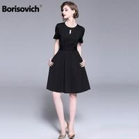 Borisovich Women Casual Dress New 2018 Summer Fashion Hepburn Style Elegant Black Ladies Evening Party Ball Gown Dresses M780