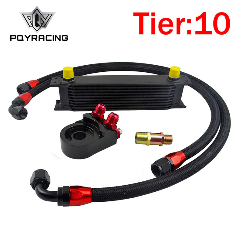 PQY - Universal 10 ROWS OIL COOLER KIT+AN10 Oil Filter Cooler Sandwich Plate Adapter Black+2PCS NYLON BRAIDED HOSE LINE vr universal 13 rows trust type oil cooler an10 oil sandwich plate adapter with thermostat 2pcs nylon braided hose line