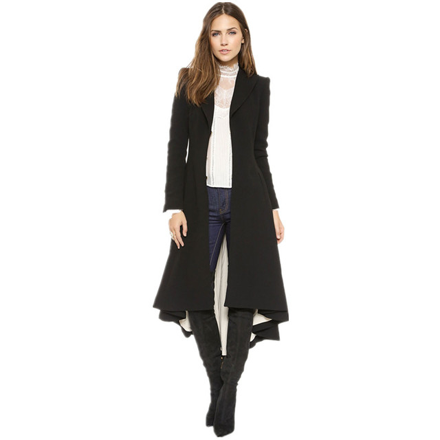 Autumn Winter Women Swallowtail Woolen Long Black Trench