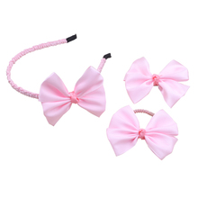 Kids Baby  pink color grosgrain ribbon Hairbands Princess Hair Accessories Plastic hairband Girl Headband bow