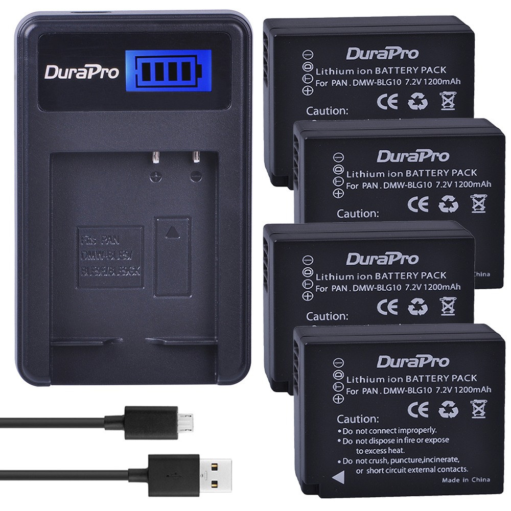 4pc DuraPro DMW-BLG10 DMW BLG10E BLG10 Camera Battery + LCD USB Charger for Panasonic Lumix DMC GF6 GX7 GF3 GF5 DMW BLE9 BLG10 tectra 4pcs dmw blg10 dmw ble9 bp dc15 bateria usb dual charger with ac adaptor for panasonic lumix gf5 gf6 gx7 lx100 gx80