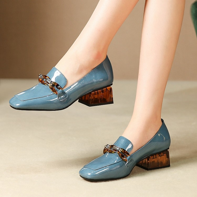 MLJUESE 2020 Women Pumps Cow Leather Autumn Spring Chains Blue Color Square Toe High Heels Lady Shoes Party Size 34-42
