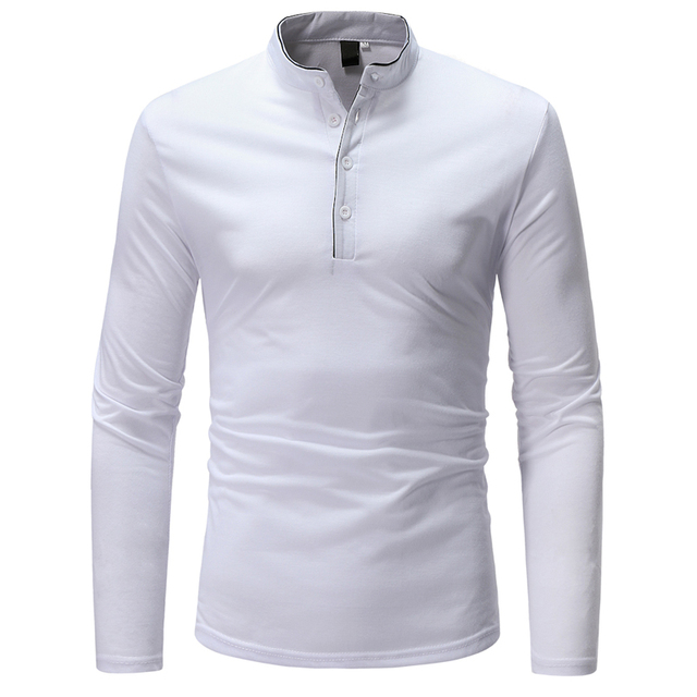 2018 New Brand Men Polo Shirt Solid Color Long-Sleeve Slim Fit Shirt Men Cotton Polo Shirts Casual Shirts XXXL T969 1