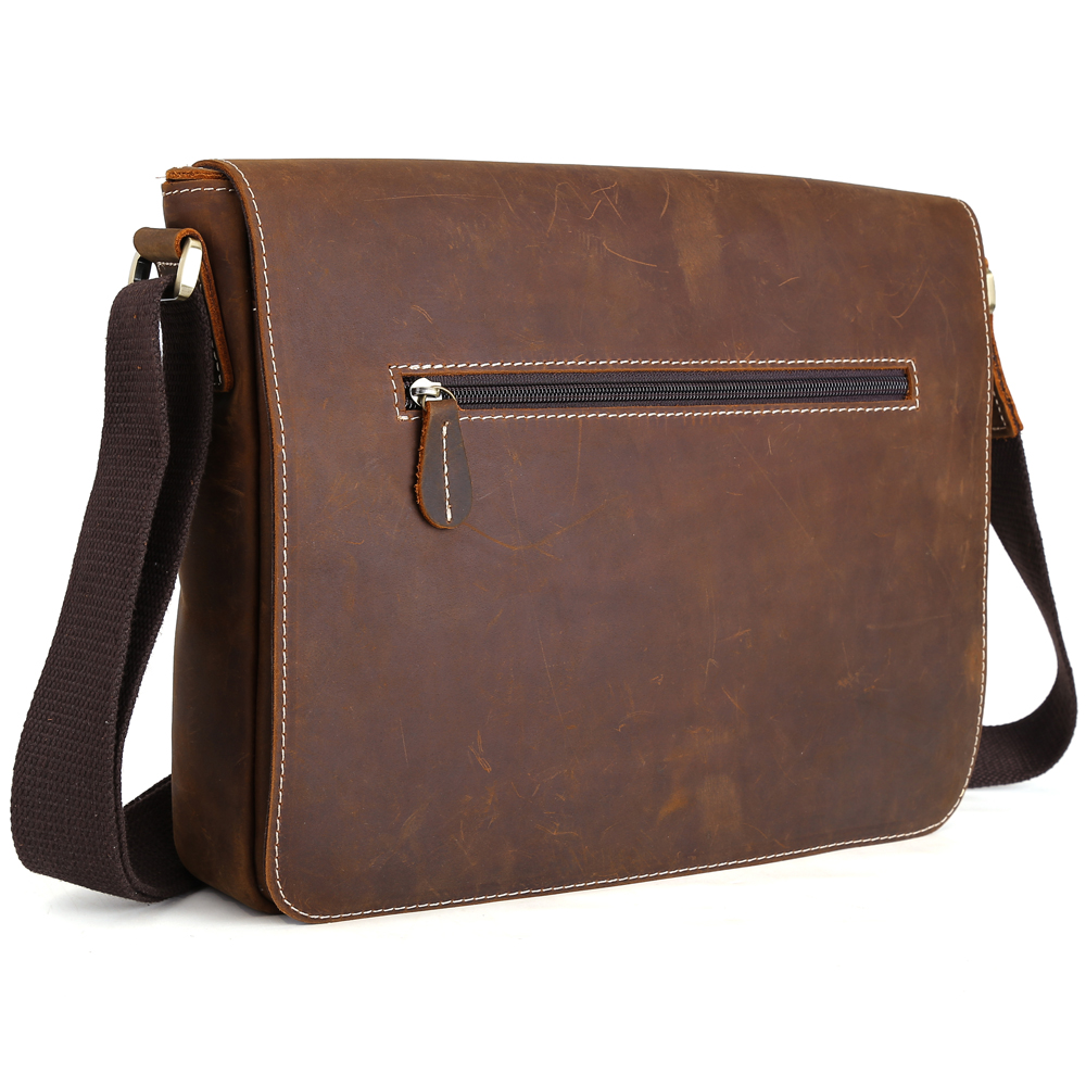 TIDING Shoulder Bag Men Messenger Bag Vintage Crazy Horse