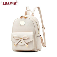 LDAJMW Fashion Women Backpack For Girls PU Leather Small School Bags Ladies Black