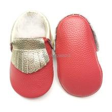 Ingyenes házhozszállítás Arany kesztyű valódi bőr Újszülött kisfiú Lány Baby Mokaszin Soft Moccs Cipők Első Walkers Gyermekágy Cipő