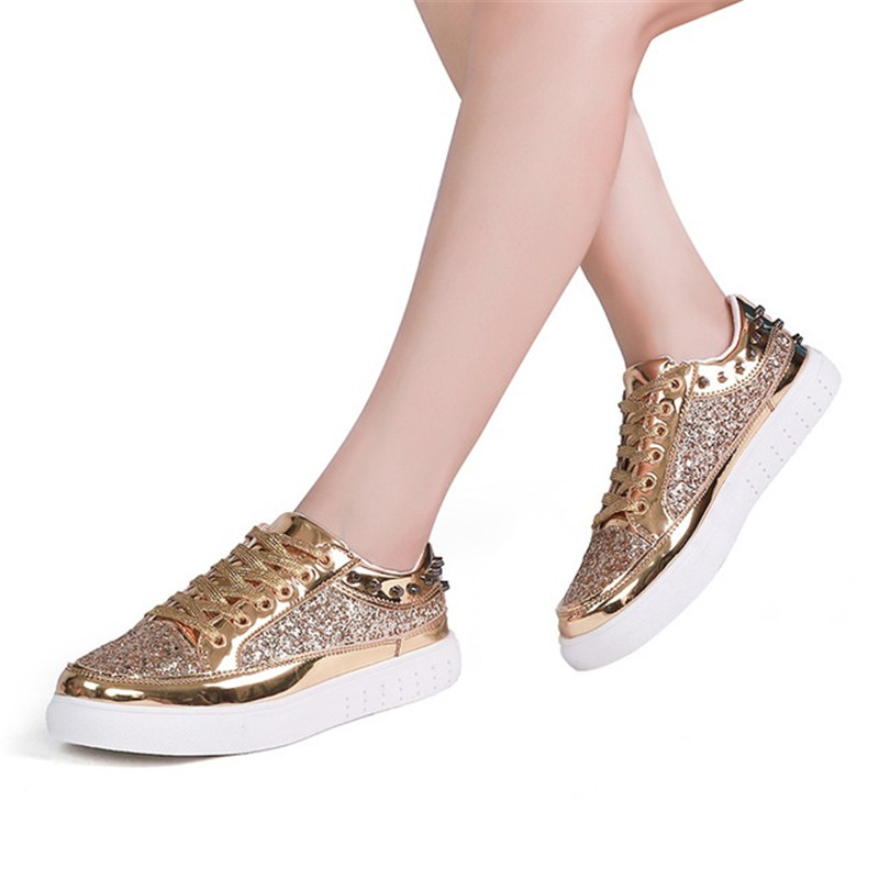 Rose 2018 Chaussures Printemps Designer or Or Paillettes Femmes Noir Argenté Décontractées Rivet argent Bling Femme Automne Doré Brillant Flats XwXrPpq