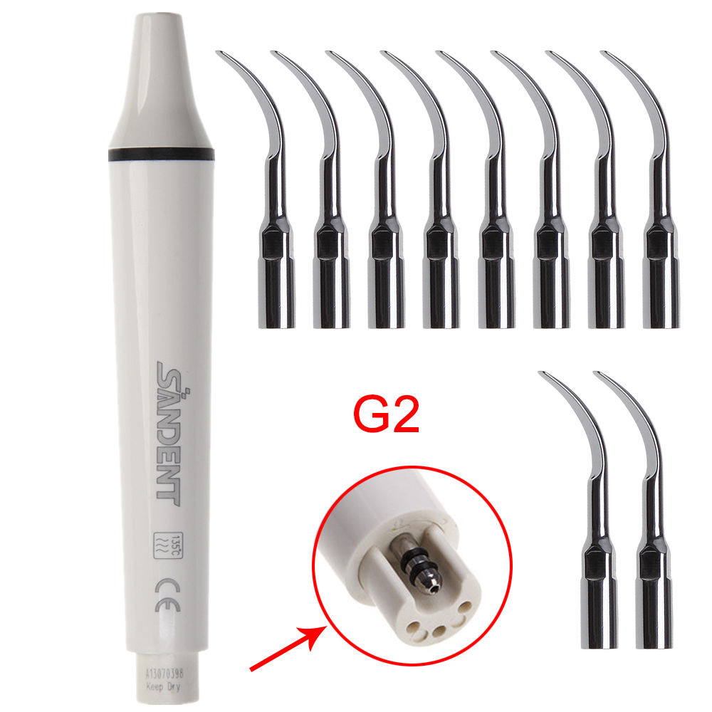 Dental Ultrasonic Perio Scaler Handpiece Fit EMS WOODPECKER + 10 Scaling Tips G2 1set epkg dental perio scaler tips kit for periodontic disease treatment fit ems woodpecker w