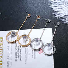 2019 Exaggerated Crystal Pendant Earrings Geometry Long Circle Womens Wedding Party