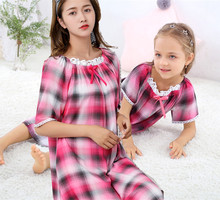 2019 summer  Kids Nightgown Little Girls Nightgowns plaid design 9517