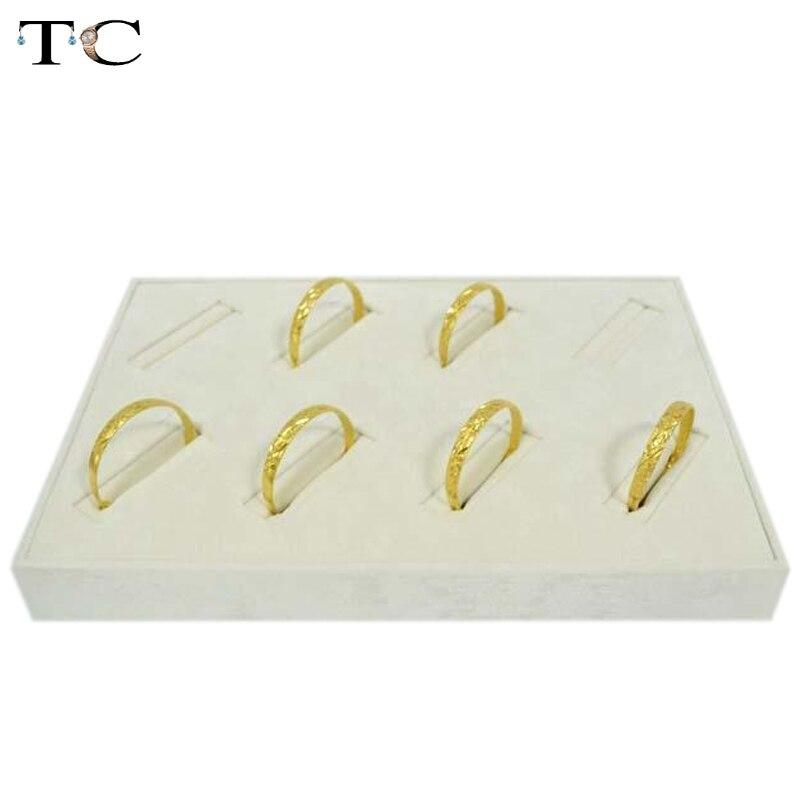 Haute Qualité Bijoux Affichage Or Bracelet Titulaire Jadéite Jade Bracelet Affichage Beige Velours Plateau 35*25*4 cm