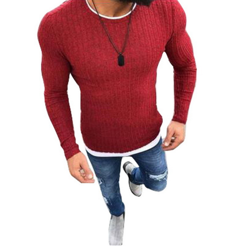 2019 Autumn Casual Men's Sweater O-Neck Solid Color Slim Fit Knittwear Mens Sweaters Pullovers Pullover Men Fashion Sweaters