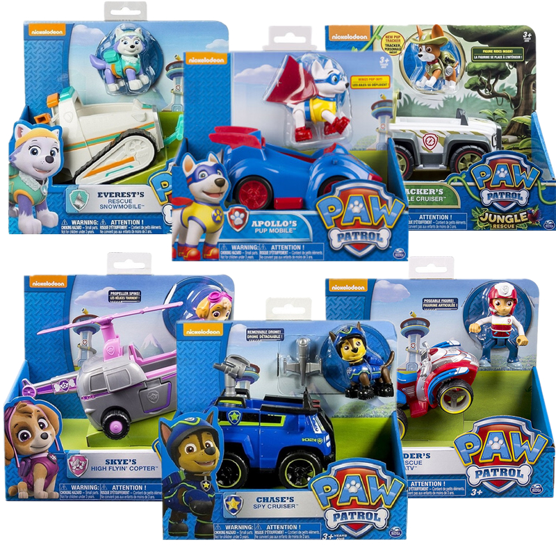 Genuine Paw Patrol Toy Car Apollo Everest Have Boxs Ryder Skye Scroll Action Figure Anime Figure Model PVC Toy For Children Gift