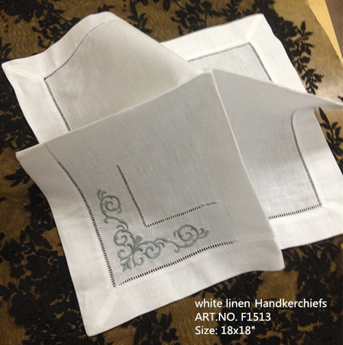 Set Of 12 Fashion Ninner Napkins White Hemstitched Linen Table Napkin Color Embroidered 18x18-inch