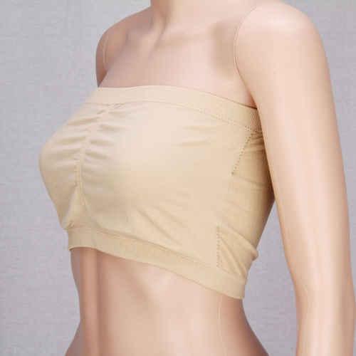 Kobiety bawełna biustonosz bez ramiączek Bandeau Tube topy wyjmowane wkładki, bez szwu upraw Intimates nowy tshirt