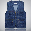 Male Classic Style Outdoors Sleeveless Denim Jacket Multi Pocket Vests Jeans Vest Outerwear Waistcoat Plus Size 4XL 5XL For Men