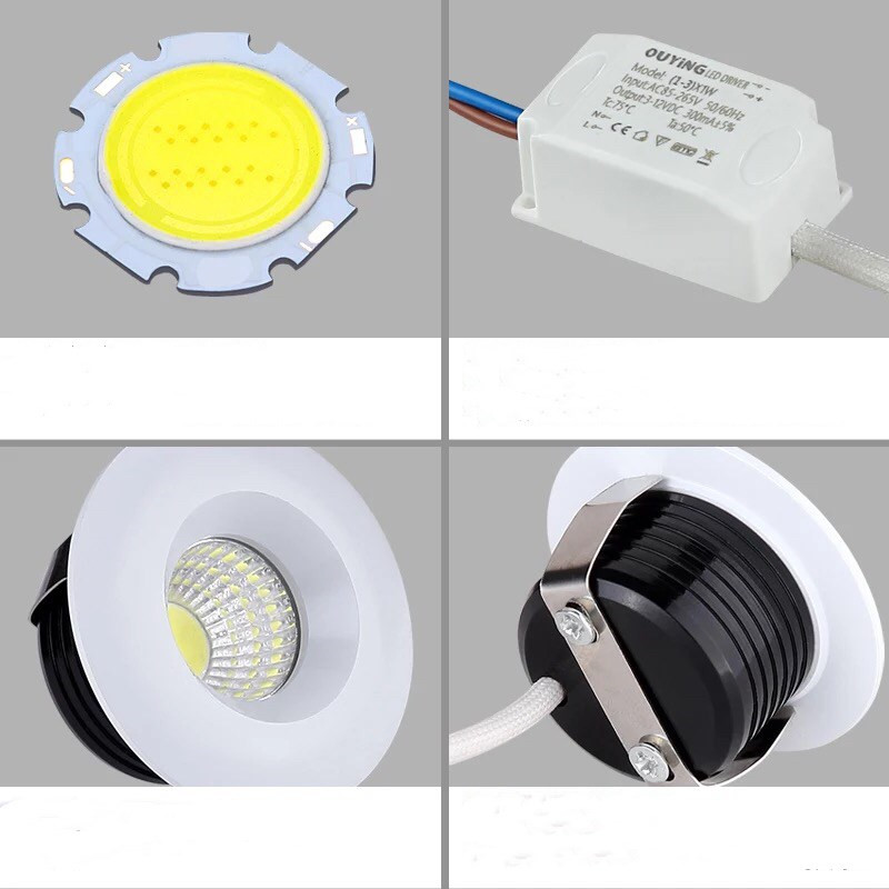 CE ROSH High Quality Round Square 3W 5W White Black Dimmable Mini COB LED Downlights Lamps in LED Downlights from Lights Lighting