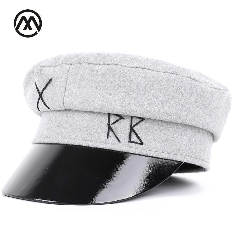 e2a345464 New leather military cap beautiful letter military hats men's washed cotton  flat top caps men's and women's universal sunshade
