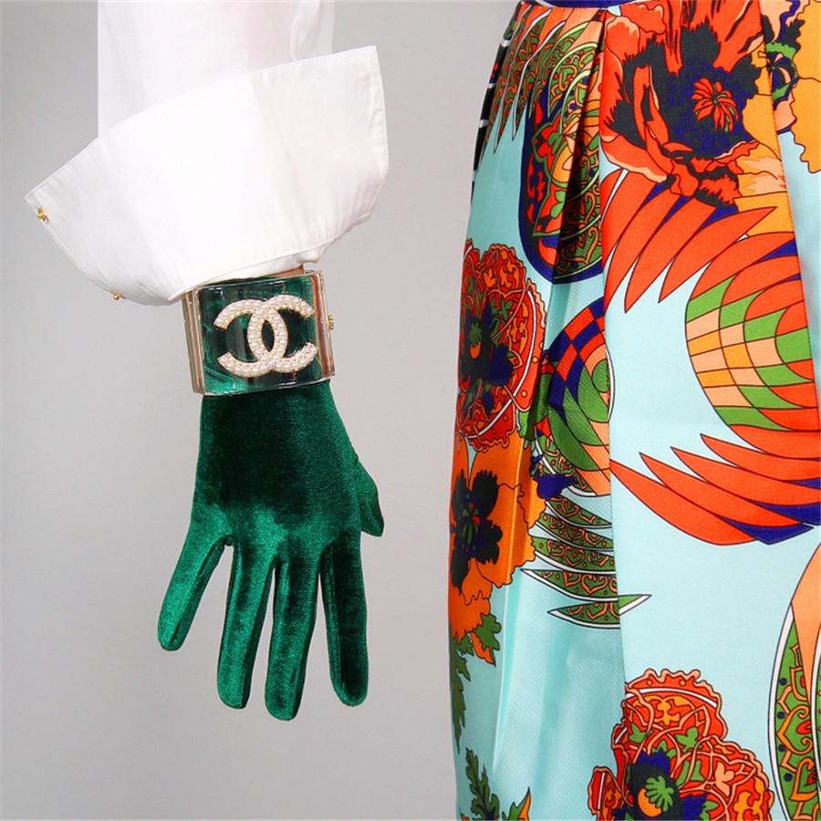 Female Velvet Gloves 22cm Short Green Velvet Green Models High Elastic Velvet Gold Velvet Touch Gloves RLS022|Women's Gloves| - AliExpress