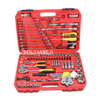 121 pieces/set Auto repair machine combination tools Set of sleeve ratchet wrench Repair kit Multifunctional portable toolbox
