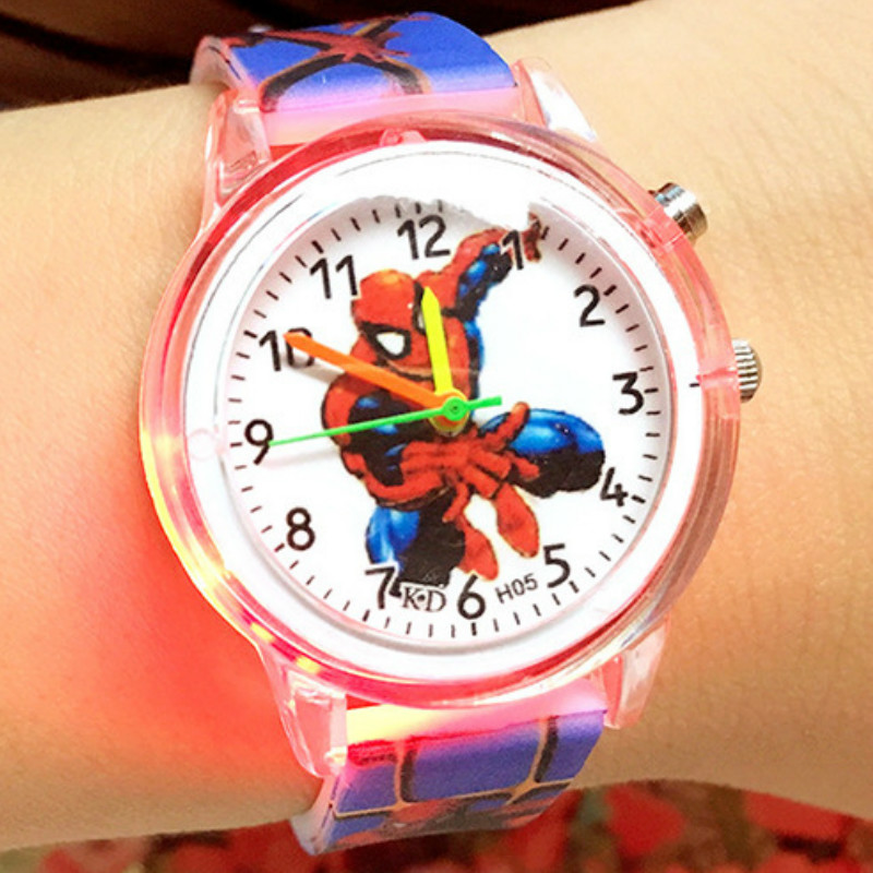 The Spiderman  Plastic Shell  Flash Table  Cartoon  Boy Children Watch  Printed Silicone Tape  Light Table  Quartz Watch