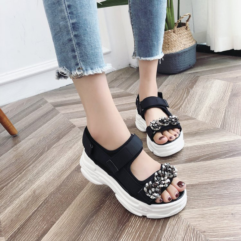 E TOY WORD Women Sandals 2019 New Summer Fashion 6cm Thick sole ladies Shoes Casual Open toe Platform Rhinestone Sandals women in Women 39 s Sandals from Shoes