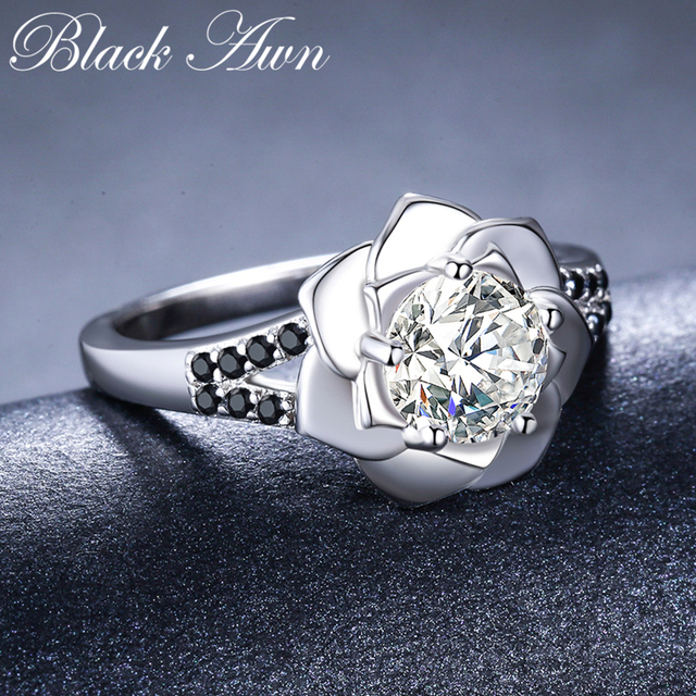 [BLACK AWN] 925 Sterling Silver Ring Female Bague Flower Trendy Wedding Rings for Women Sterling Silver Jewelry G073 3