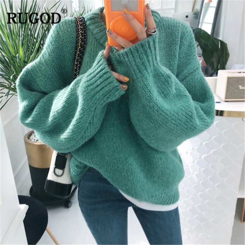 RUGOD Vintage Fashion Women Pullovers Solid Plus Size Knitted Warm Winter Clothes O-Neck Casual Women Sweaters Sueter Mujer