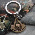 Animation Jewelry Assassin's Creed Pendant Keychain Skull Logo Key Chain High Quality Alloy Keyrings Cosplay Jewelry 10pcs/lot