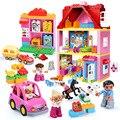 Diy Big Girl Friends Pink Villa Building Blocks Set Kids Compatible With Legoingly Duploe Hobbies Bricks Toy For Christmas Gifts